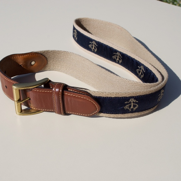 Brooks Brothers Other - Brooks Brothers Canvas Leather Lamb Logo Belt 36
